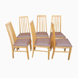 Oak High Back Dining Chairs, 1980s, Set of 6