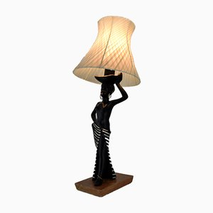 Mid-Century Black Ceramic Table Lamp with Female Figure from Barsony