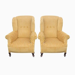 Mahogany Wingback Armchairs Upholstered in Gold, 1940s, Set of 2