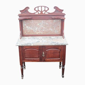 Marble Top Mahogany Washstand with Back, 1920s