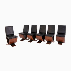Wood & Leather Dining Chairs from Maxalto, 1970s, Set of 6