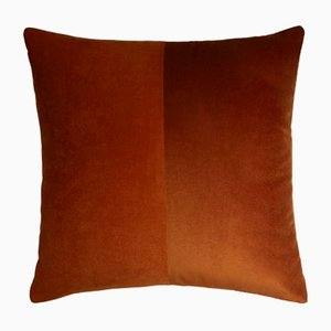 Double Brick Red Velvet Cushion Cover by Lorenza Briola