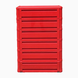Italian Modular Red Plastic Chest of Drawers from Kartell, 1970s