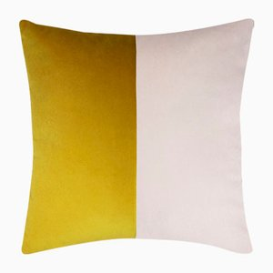 Double Optical Mustard Cushion Cover by Lorenza Briola for Lo Decor