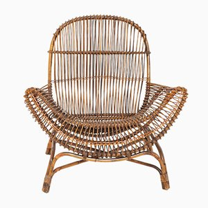 Mid-Century Italian Bamboo Lounge Chair by Franco Albini