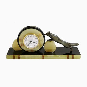 Art Deco Fox Clock in Marble and Onyx
