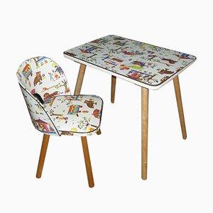 Juego de mesa y silla infantil vintage, años 70. Juego de 2
