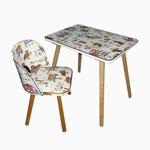 Vintage Children's Craft Table & Chair, 1970s, Set of 2