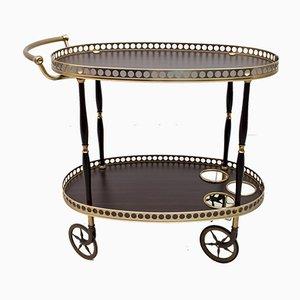 Italian Mahogany & Brass Bar Cart, 1950s