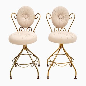 Mid-Century French Brass Swivel Chairs, Set of 2