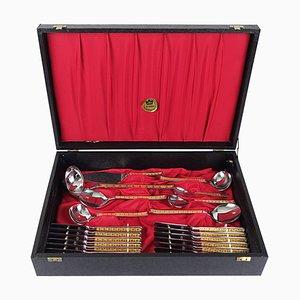 Vintage 24 Carat Gilded Stainless Steel Cutlery Set, Set of 70