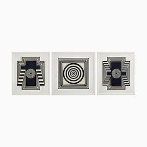 Holztafeln mit Relief Motiven in Schwarz & Weiß, 3er Set