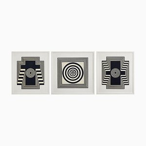 Wooden Panels with Black and White Relief Geometric Patterns, Set of 3