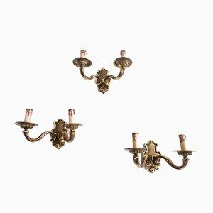 German Brass Sconces, 1970s, Set of 3