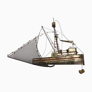 Large Brass Maria Fishing Boat by Curtis Jeré