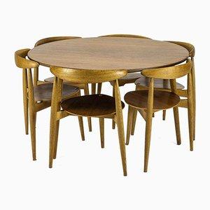 Table de Salle à Manger en Chêne & Teck & Chaises Heart par Hans J. Wegner pour Fritz Hansen, 1960s