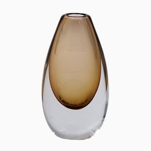 Mid-Century Scandinavian Sommerso Gold Brown Glass Vase, 1950s