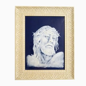 Vintage Framed Plaque of Christ by Marcel Chaufriasse