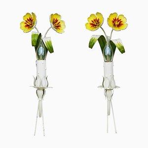 Italian Tôle Flower Sconces, 1960s, Set of 2
