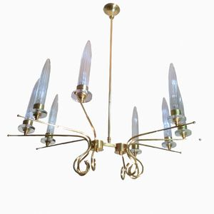 Mid-Century Italian Brass and Murano Glass Sputnik Chandelier, 1950s