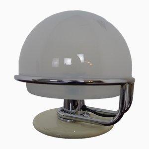 Italian Glass & Chromed Steel Table Lamp, 1960s