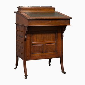 Antique English Walnut & Birds Eye Maple Davenport Desk