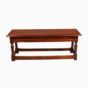 Small Antique Walnut Bench, 1800s