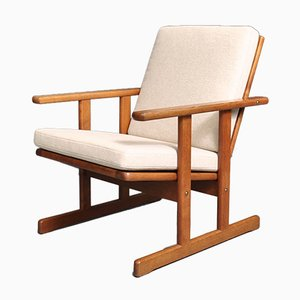 Solid Oak Armchair by Jørgen Bækmark for FDB, 1950s