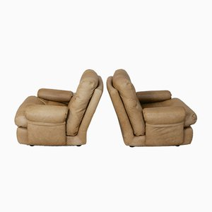 Albany Leather Lounge Chairs by Michel Ducaroy for Ligne Roset, 1970s, Set of 2