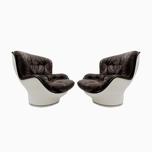 Leather Karate Armchairs by Michel Cadestin for Airborne International, 1970s, Set of 2