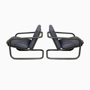 French Tubular Steel & Foam Cushions Prisunic Edition Lounge Chairs, 1973, Set of 2