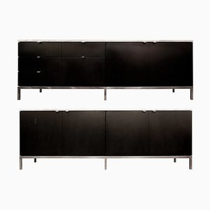 Black Lacquered Sideboards on Chrome Base with Marble Top by Florence Knoll, 1970s, Set of 2