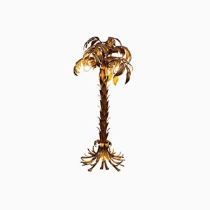 Hollywood Regency Style Gilded Palm Tree Floor Lamp by Hans Kögl, 1960s