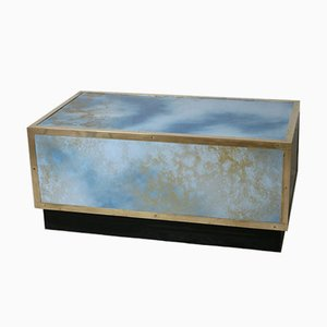 French Blue Brass & Formica Solar Eruption Coffee Table, 1970s