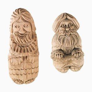 Statuette in legno di betulla, set di 2