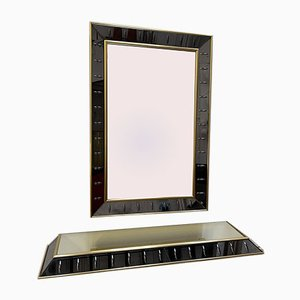 Italian Glass & Brass Mirror & Console Set from Cristal Art, 1960s, Set of 2
