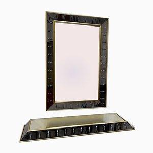 Specchio e consolle in vetro e ottone di Cristal Art, Italia, anni '60, set di 2