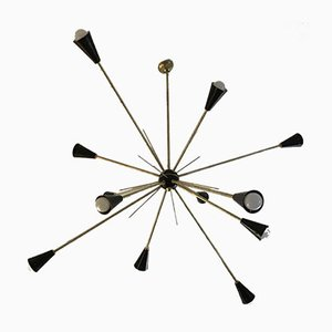 Brass Sputnik Ceiling Lamp, 1950s