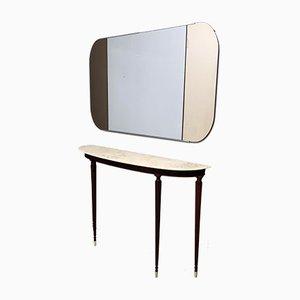 Specchio a muro rettangolare con due strisce laterali in bronzo, anni '70