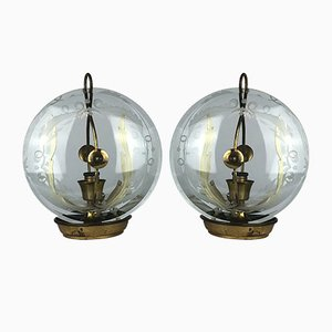 Brass and Curved Glass Table Lamps by Pietro Chiesa for Fontana Arte, 1940s, Set of 2