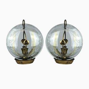 Tischlampen aus Messing & Gebogenem Glas von Pietro Chiesa für Fontana Arte, 1940er, 2er Set