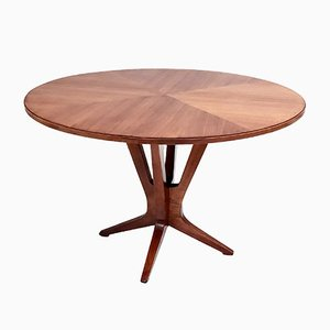 Mid-Century Round Walnut Dining Table in the Style of Ico Parisi, 1950s