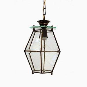 Italian Midcentury Brass and Cut Glass Lantern / Pendant Lamp, 1950s