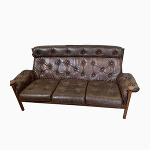 Brown Leather 3-Seater Sofa, 1960s