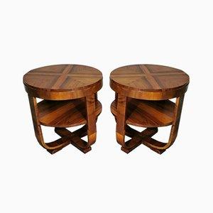 Art Deco Walnut Coffee Tables, 1930s, Set of 2