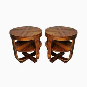 Art Deco Walnut Coffee Tables Set of 2