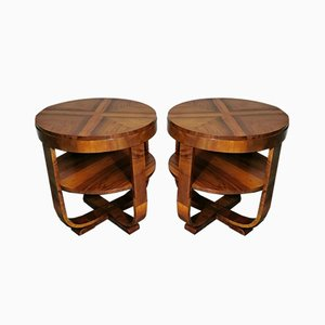 Tables Basses Art Déco en Noyer Set de 2