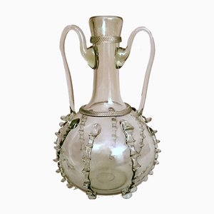 Murano Blown Glass Bottle with Handles and Decorations, 1950s