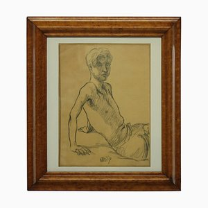 Charcoal Painting of a Young Man, 1969