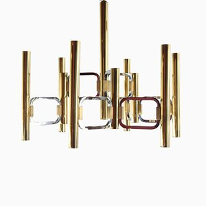 Two-Tone Brass & Chrome-Plated Chandelier by Gaetano Sciolari for Sciolari, 1970s